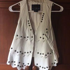 White Daytrip Leather Studded Vest